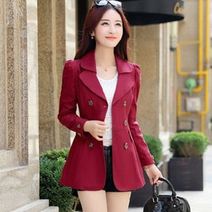 1PC Autumn spring Women Double Breasted Trench Coat Khaki vintage Casual Office Lady Business short Outwear Z5868 o2k9#