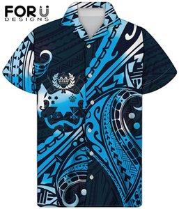 1 pcs azul havaiano camisas para mens samoa impressão respirável camisas para hombre padrão polinésio manga curta camisa homens casual