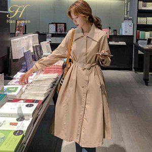 H Han Queen Fashion New Women Trench Coat Long Slim Lady Dlamenser Abrigos Classic Chic Femenino Cortavientos Ropa de otoño