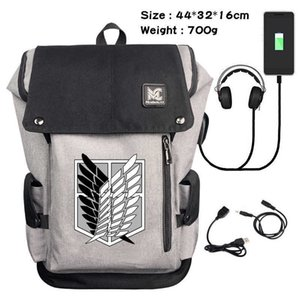 Suitcases Attacking Giant Student Backpack Usb Charging Facels Men's Printed Leisure Computer Travel Bucket Bag