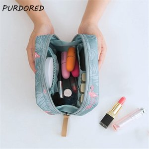 Bags Purdored 1 Pc Flamingo Cosmetic Women Necessaire Make Up Travel Waterproof Portable Toiletry Makeup Cosmetiquera
