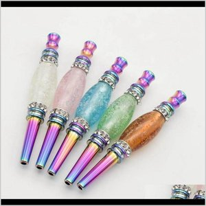Other Bling Metal Hookah Tool Mouth Tip Colorful Diamond Arab Shisha Narguile Filter For Smoking Pipe Accessories Iaito Egg5J