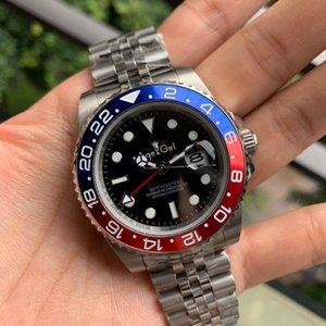 Классические мужчины Автоматические механические часы Красный Черный Синий Керамический Безель GMT II Нержавеющая Сталь Сапфир Юбилей 116710 + Наручные часы