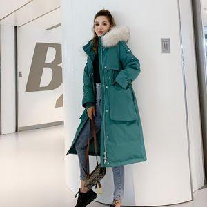 2020 Women's Winter Down Jacket Long Duck Down Coat Raccoon Fur Collar Oversized Parka Korean Chamarras De Mujer KJ3724