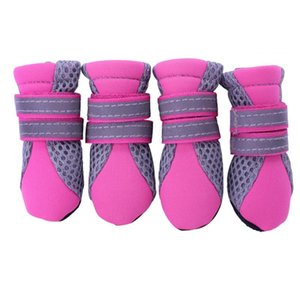 Car Headlights Summer Breathable Mesh Small Dog Shoes Nonslip Sole Boots Size (Rose Red)