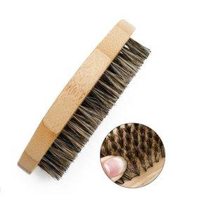 خنزير الشعر بريستل لحية فرش الصلب جولة الخشب مقبض مكافحة ساكنة تصفيف الشعر أداة للرجال GWD6317