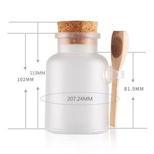200ml Clear Women Empty Matte Cork Bath Salt Bottle With Wooden Spoon Cosmetic Refillable Jar Storage Bottles & Jars