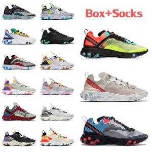 Avec boîte React Element 87 55 Mens Femmes Running Shoes Sail Olt Racer Rose Triple Blanc Noir Noir Iridescent Sports Sports Sports Sparters Sneakers