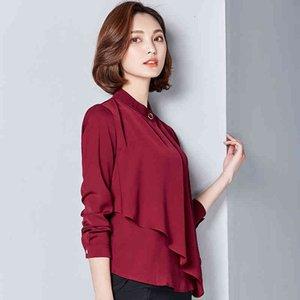 Biboyamall Irregolare Blusa bianca Blusa Donne Tops Moda Casual Manica Lunga Camicia Donne Work Blouses Femme Blusa Plus Size XXXL
