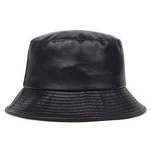 2020 neue Eimer Hut Faux Leder Eimer Hüte PU Baumwolle Solid Top Männer und Frauen Mode Eimer Cap Panama Fisherman Caps