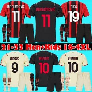 men + kids AC 21 22 IBRAHIMOVIC MILAN soccer jersey BRAHIM BENNACER KESSIE ROMAGNOLI 2021 2022 Home away 3rd football shirt TONALI REBIC maillot