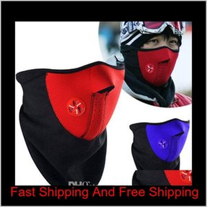 Caps Masks Protective Gear Sports Outdoors Bicycle Cycling Motorcycle Half Face Winter Warm Outdoor Sport Ski Ride Bike Cap Cs Mask Ne