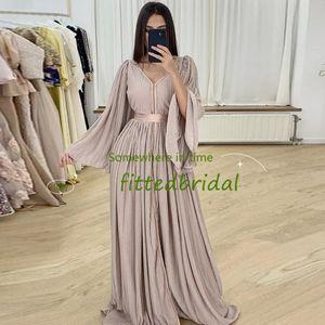 Elegant Moroccan Caftan Muslim Formal Dresses A-Line Long Sleeve Evening Gowns for Women Dubai Saudi Arabic Robes De Soirée