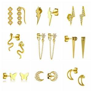 Asistente 925 plata esterlina linda curvada serpiente mariposa Pendientes de perno para mujer niñas Circón Línea Luna Ear Party Fine Joyería