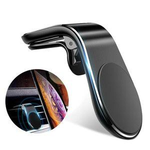 Suporte de montagem de ventilação de ar magnético L forma no suporte do telefone móvel do GPS do carro para o iPhone 12 Samsung Huawei
