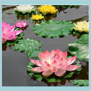 Decorative Flowers & Wreaths Festive Party Supplies Home Garden 10Pcs Artificial Lotus Water Lily Floating Flower Pond Tank Plant Orna