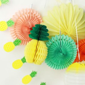 Pack of 9 Summer Party Paper Flower Decoration Set (Lantern ,Paper Fans ,Pineapples Garland )Tropical Hawaiian Birthday Show BWD6083
