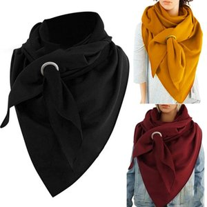 Winter Thicken Large Triangle Scarf With Hole Ring Unisex Simple Solid Color Neck Warmer Outdoor Cold Weather Blanket Shawl Wrap Scarves