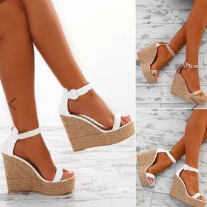 Летние женщины высокие каблуки клин сандалии гладиаторные платформы Espadriilles обувь дамы сексуальные открытые пальцы белые Zapatos Mujer платье