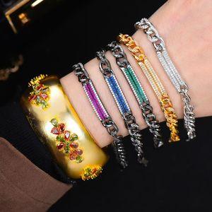 Missvikki europeu na moda mistura empilhável jogo punk estilos pulseiras para mulheres jóias girando grânulos de alta qualidade brilhante cz pulseira