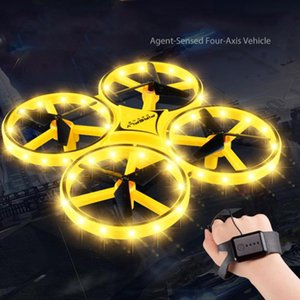 Mini Helicopter Induction Drone Smart Watch Hand Gesture Sensor Remote RC Aircraft UFO Flying Quadcopter Interactive Kids Toys Drones