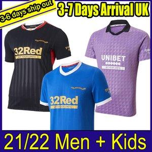 2021 Rangers 150th Anniversary Soccer Jerseys Glasgow 2022 TRAINING TEE MATCH DAY TEE-WHITE Player version BARKER MORELOS SPECIAL 21 22 Football Shirts Men + kids kit