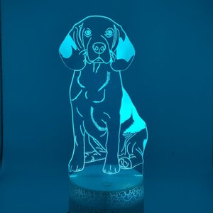 Led Night Light Kids Bedroom atmosphere beagle Nightlight with without remote 3D illusion pet dog Lamp Child Xmas Gift