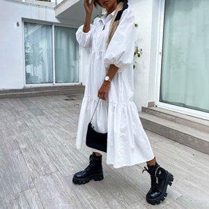 Платье Женщины Летняя Длинная Рубашка Buttom Оплачивает белый Свободный Средний ES Полукавол Плюс Размер Одежда для 210524