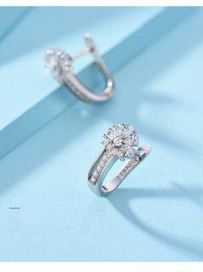 2020 925 Sterling Silver Earrings Flower Zircon Earrings Woman Wedding Wedding Jewelry Gift