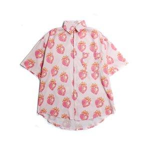 Ladies shirts Summer Streetwear Women Shirt Hip-hop Heart Short-sleeved Blouses Female Harajuku Loose Couple Blouse Unisex