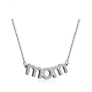 Sublimation Blank Mom Crystal Zircon Pendant Women Silver Jewelry Happy Mothers Day Gifts Set Necklace