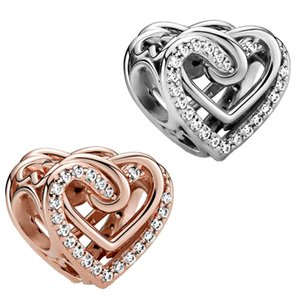 Genuine 2021 925 Sterling Silver Beads Entwined Hearts Charms Fit Original Pandora Bracelet Women DIY Jewelry