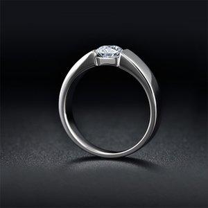 ¡Envíe el certificado de plata! Yhamni 100% Real Pure 925 Plate Silver Anillo 6mm SONA CZ Diamond Chatch Anillos de boda Joyería para hombres DR10 85 Q2