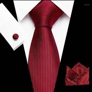 2020 Striped Red Tie Hanky Cufflinks Set 100% High Quality Silk Jacquard Necktie Business Men Gifts Necktie set1
