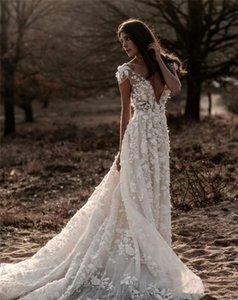 Bohemian Boho Wedding Dress For Women 2021 robe de mariée A Line Lace Gowns Deep V Neck Open Back Bridal Dresses