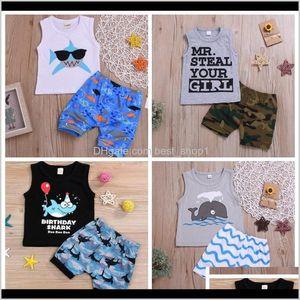 Shirts Kids Designer Clothes Boys Cartoon Vest Shorts 2Pcs Sets Cotton Sleeveless Toddler Boy Outfits Boutique Baby Clothing 5 Designs Wkuxs
