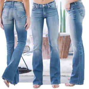 Woman Jeans Vintage Mid Waisted Denim Jeans Pocket Stretch Button Bell-Bottom Pants Full Length Mom Cowboy Denim Pants #08