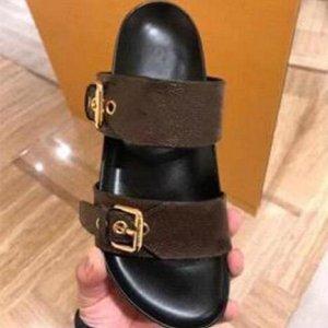 Модные женщины мужские сандалии роскошный дизайнер леди джентльмены красочные холст письма анатомический кожаный слайд 6 стиль модели