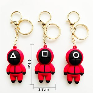 Squid Game Mask Key Chain Ring Masked Person Triangle Series Creative Charms 3d Mini Round Six Doll Figurine Car Backpack Pendant Gold Metal Keychain Accessories
