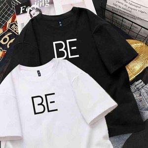 2021 새 앨범 인쇄 하라주쿠 티셔츠 KPOP 스타일 귀여운 한국어 캐주얼 힙합 짧은 소매 탑