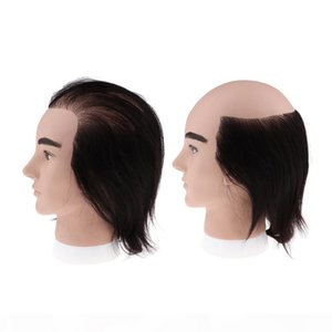 2 Kinds 7.9inch Cosmetology Male Mannequin Head with Real Human Hair for Barber Shops Styling Cutting Weaving Practicing