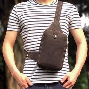 Waist Bags MISFITS Retro Leather Mens Crossbody Chest Bag Sports Shoulder Zipper Double