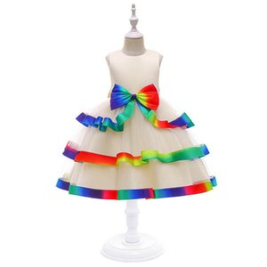 Girl's Dresses Baby Girls Casual Dress Lace Tutu Pettiskirt Long Princess Rainbow Party Formal Kids Clothes Children Clothing Tiered Skirts 4-10Y B4704