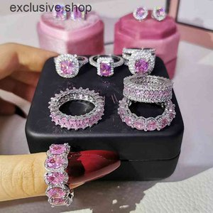 2021 New Arrival Luxury Real 925 Sterling Silver Pink Engagement Wedding Ring Set Band Eternity For Women Party Gift Jewelry Z11