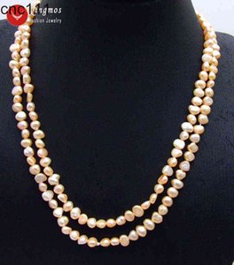 """Qingmos Fashion 6-7mm Baroque Natural Freshwater Pink Pearl for Women Long Necklace 40"""" Sweater Jewelry nec6107"""