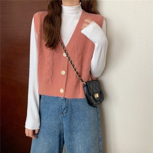 Female Casual Knitted Vest Sleeveless Cardigan Single-breasted Tops Sweaters Women Fashion V-neck Solid Winter Fall Clothes