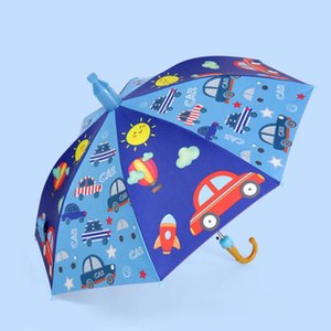 Kids Umbrellas Animals Print Polyester Sunny Rainy Umbrella Hanging Long-handle Straight Umbrella Child Rain Gear HHC6989