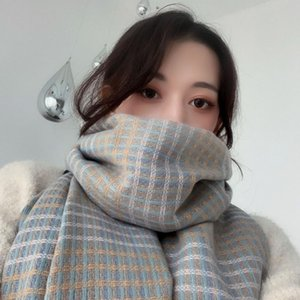Wholesale Lady's Thick Knitted Scarves Cashmere Warm Plaid Scarf Shawl Korean Winter Fashion Sweet Long Blanket Multicolor Wrap