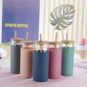 머그잔 1 개 대나무 뚜껑 밀짚 실리콘 슬리브 싱글 레이어 유리 병 찻잔 커피 컵 뚜껑과 빨 대 거품 Boba
