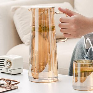 1Pcs 1.3L 1.8L Cold Glass Water Bottle Jar Kettle Transparent Large Capacity Heat Resistant Coffee Pot With Handle PartyGift Party Favor